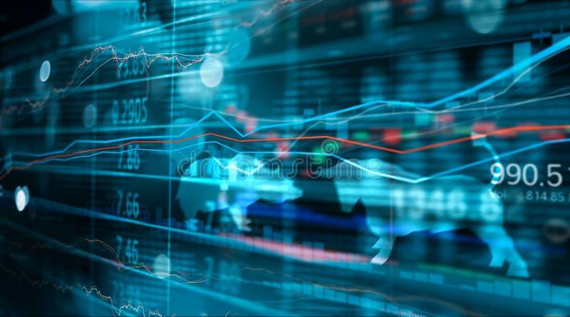 Finansiell aktiemarknadnummer och forexhandelgraf, affär och aktiemarknaddata arkivfoton