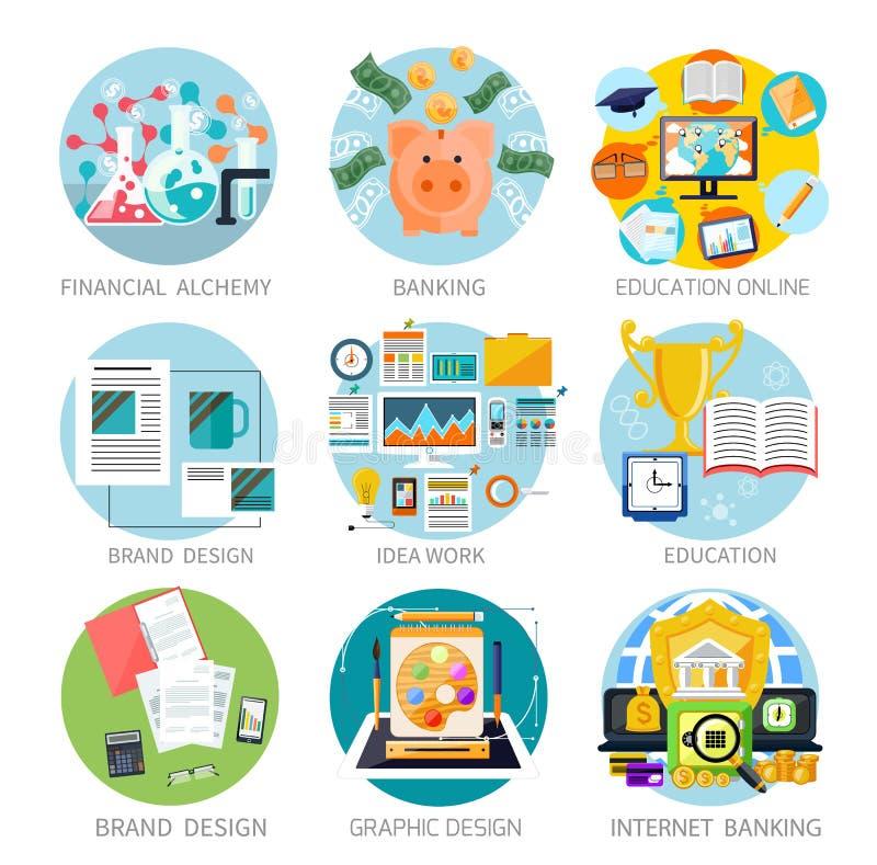 Finansiell alkemi, utbildning, grafisk design stock illustrationer