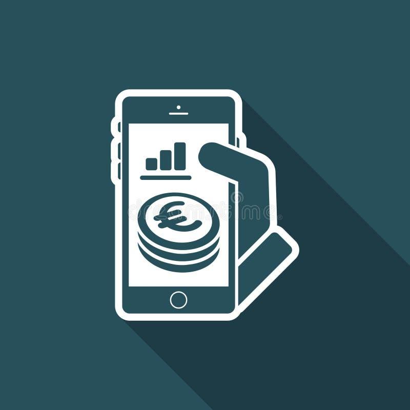 Finansiell applikation på smartphonen - euro royaltyfri illustrationer