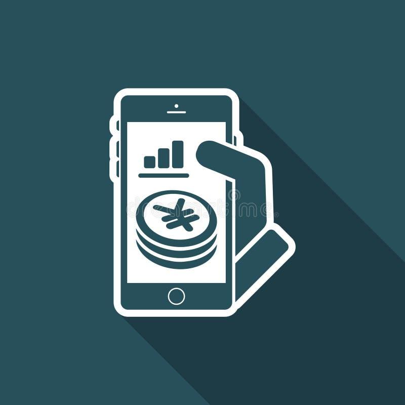 Finansiell applikation på smartphonen - yen vektor illustrationer