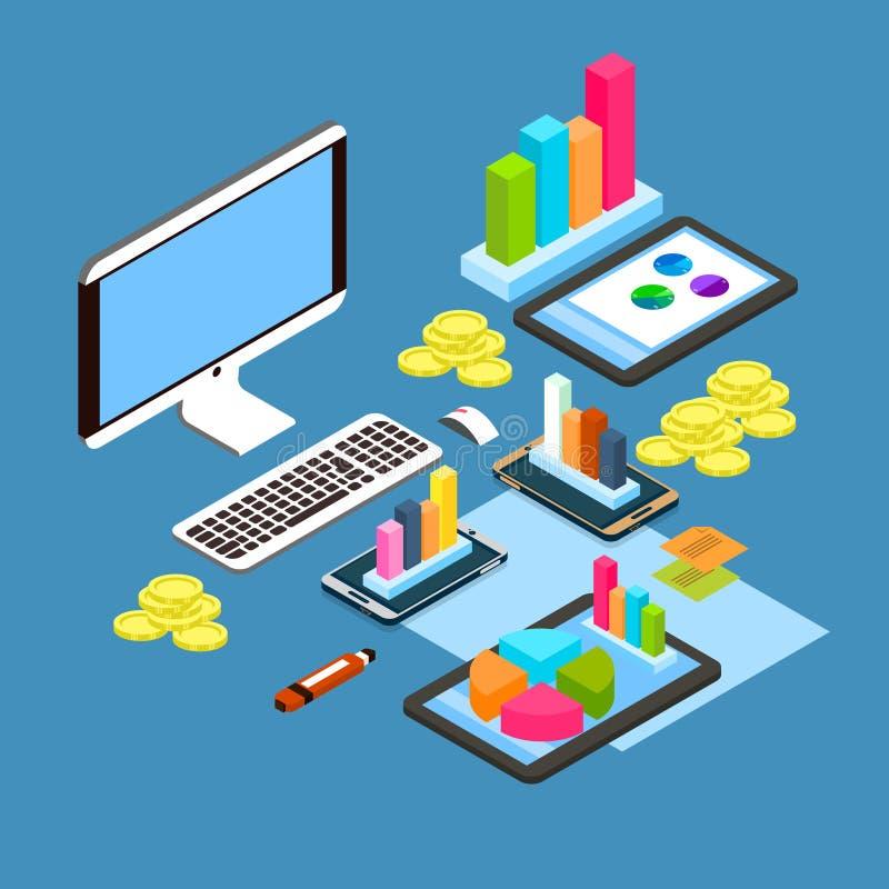 Finansiell arbetsplats för skrivbords- dator för grafdiagramdiagram, isometrisk arbetsplats för finansbegrepp 3d royaltyfri illustrationer