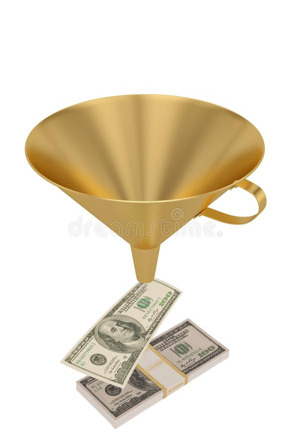 Finansiell begreppstratt och US dollar som isoleras på vit bakgrund illustration 3d royaltyfri illustrationer