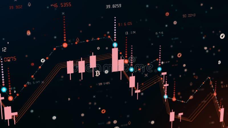 Finansiell diagramnedgång på rå marknad och att visa nedgång eller finanskris stock illustrationer