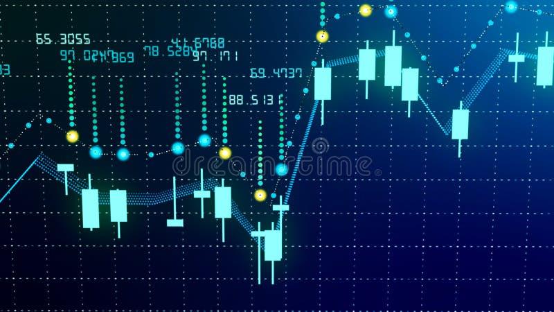Finansiell diagramtillväxt på den envisa marknaden som visar tillväxt- och ökavinst arkivbilder