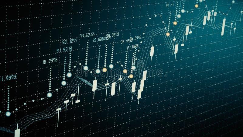 Finansiell diagramtillväxt på den envisa marknaden som visar tillväxt- och ökavinst royaltyfri fotografi