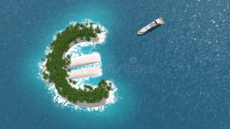 Finansiell eller rikedomundvikande för skatteparadis, på en euroö Ett lyxigt fartyg seglar till ön royaltyfri illustrationer