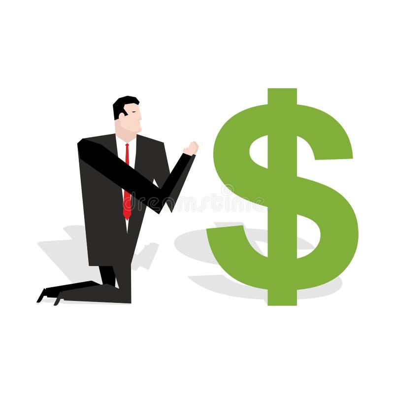 Finansiell förebild Affärsman som ber till dollaren Dyrkan av pengar vektor illustrationer