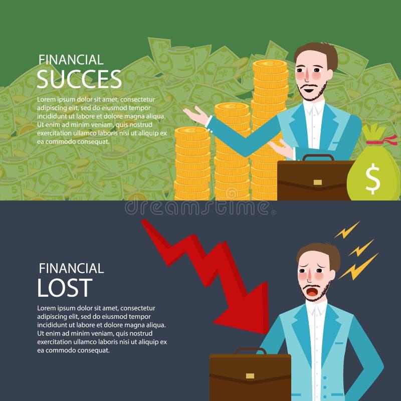 Finansiell framgång och borttappad uppsättning för baner för investeringpengardiagram ner stock illustrationer