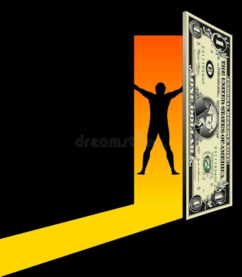 finansiell frihet för dörr till stock illustrationer