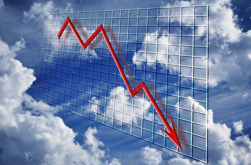 finansiell graf för krisnedgång stock illustrationer