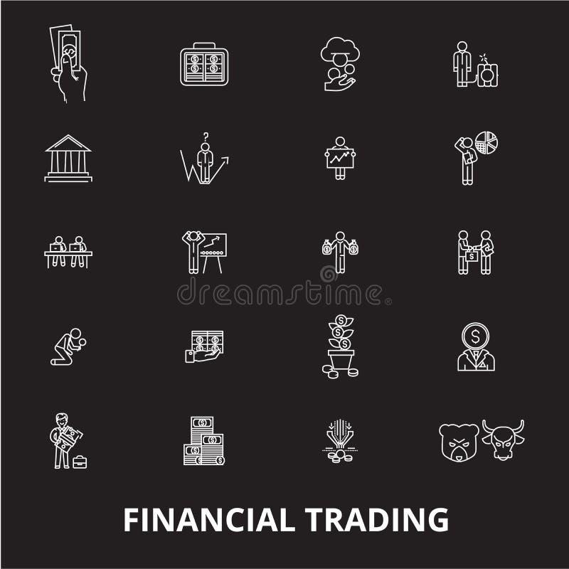 Finansiell handla redigerbar linje symbolsvektoruppsättning på svart bakgrund Finansiella handla vita översiktsillustrationer royaltyfri illustrationer