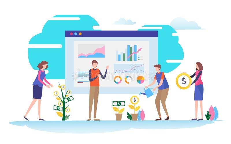 finansiell hjälp Affär investeringledning För illustrationvektor för plan tecknad film miniatyrdiagram stock illustrationer