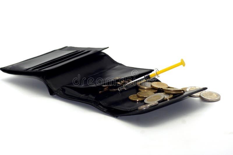 Finansiell injektion för den Portmonee handväskan royaltyfri fotografi