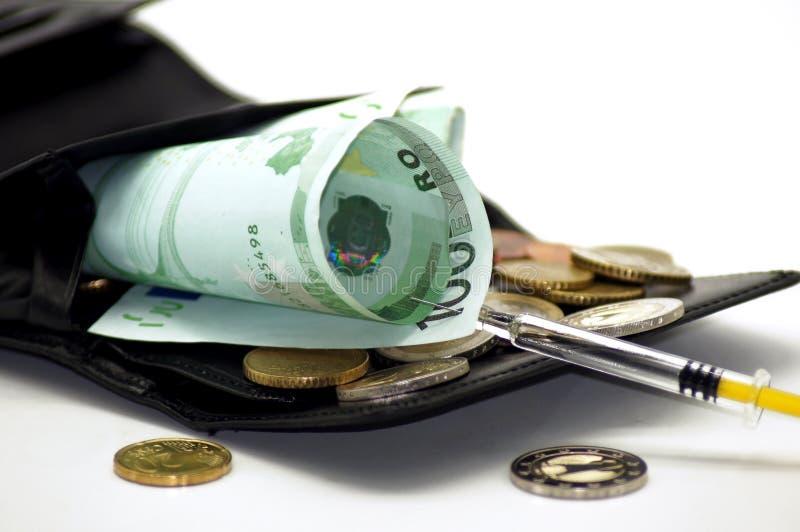 Finansiell injektion för den Portmonee handväskan royaltyfria foton