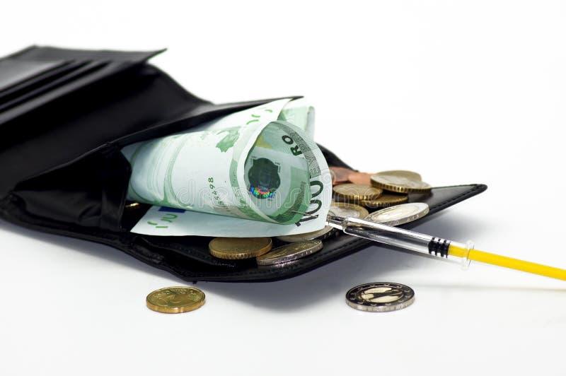 Finansiell injektion för den Portmonee handväskan arkivfoton
