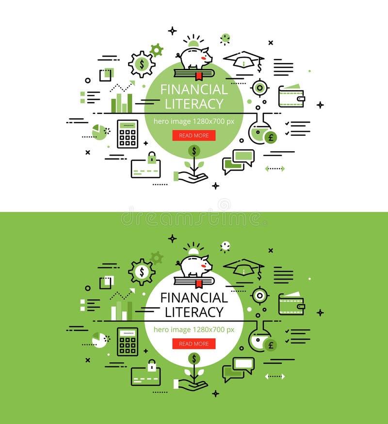 Finansiell läs-och skrivkunnighet Plan linje färghjältebilder och hjältebaner vektor illustrationer