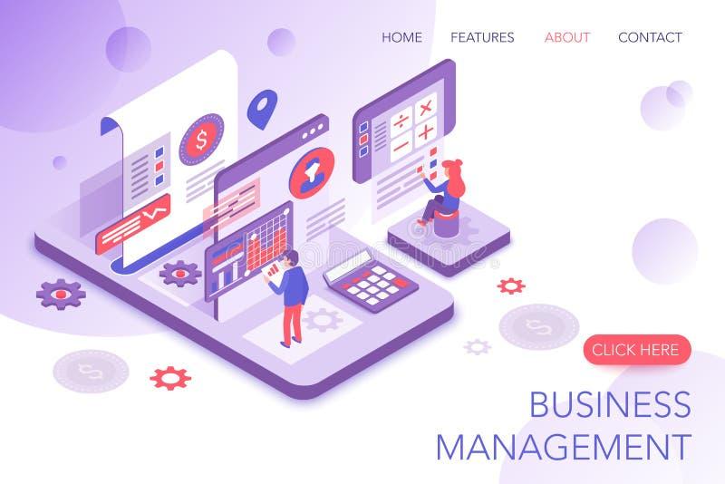 Finansiell ledning, företags statistik, mall för sida för landning för website för vektor 3d för affärsmarknadsföring modern isom royaltyfri illustrationer