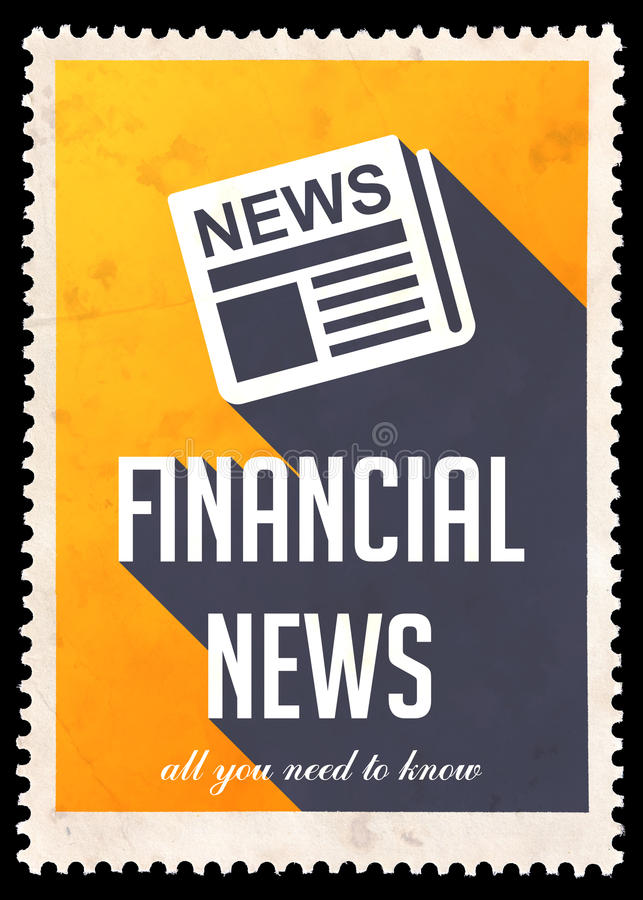 Finansiell nyheterna på guling i plan design royaltyfria foton