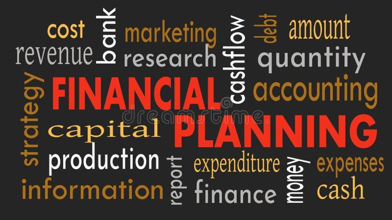 Finansiell planläggning, ordmolnbegrepp på mörk bakgrund illustration royaltyfri illustrationer