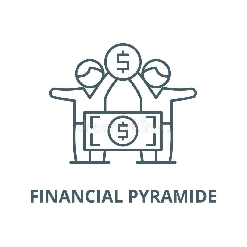 Finansiell pyramidevektorlinje symbol, linjärt begrepp, översiktstecken, symbol stock illustrationer