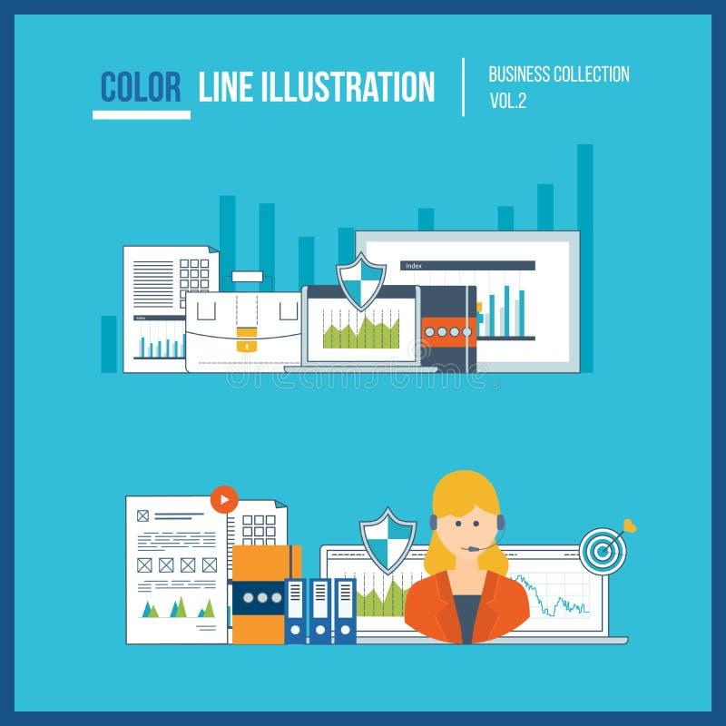 Finansiell rapport, konsultera, teamwork, projektledning och utveckling Investeringaffär vektor illustrationer