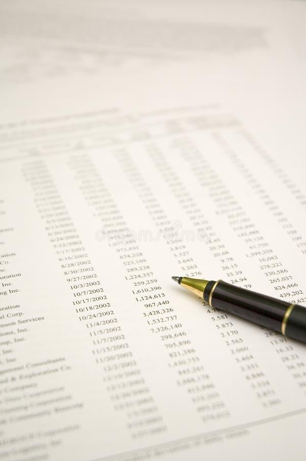 Finansiell rapport och penna royaltyfri fotografi