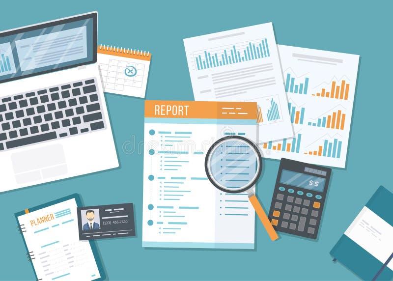 Finansiell rapportaffärsrapport med pappers- dokument, former Redovisning kontroll, forskning, planläggning, analys, revision, ca royaltyfri illustrationer