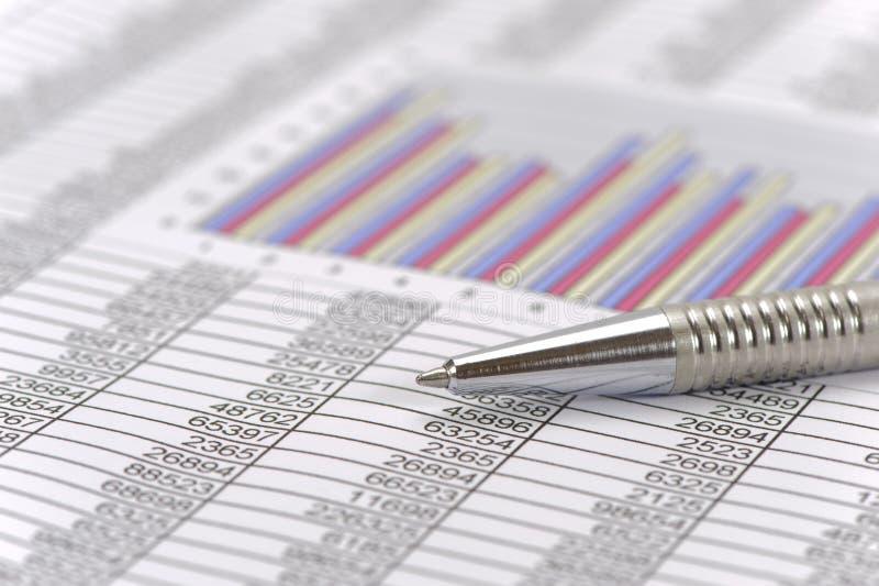 Finansiell redovisning med pennan och räknemaskinen arkivfoto