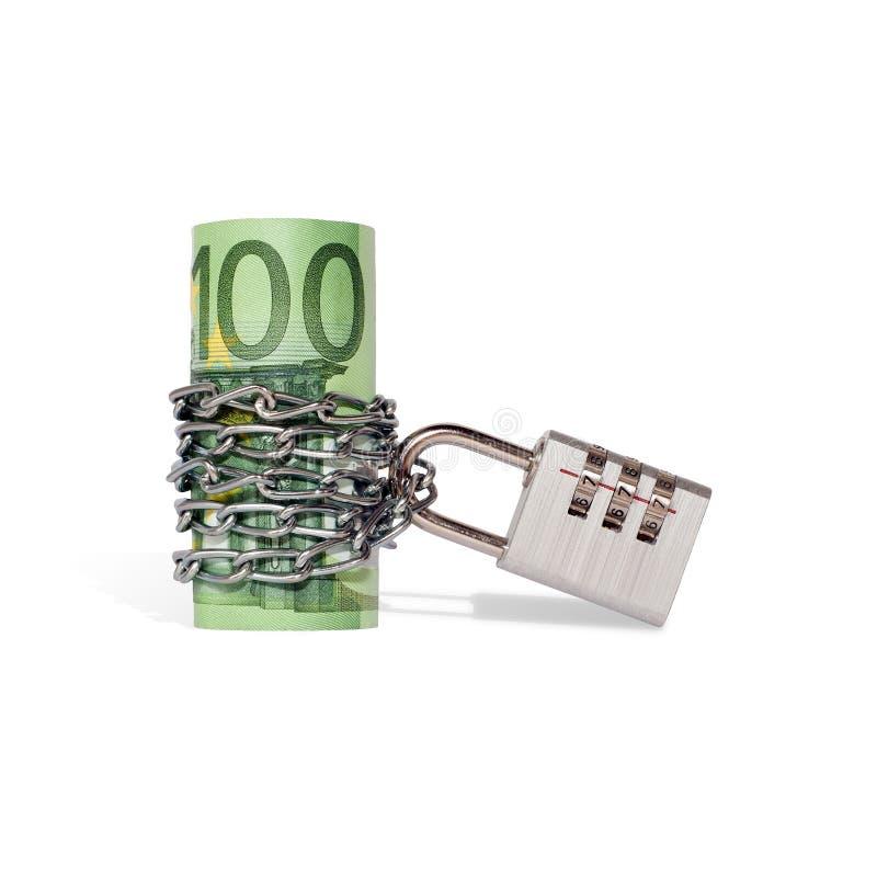Finansiell säkerhet, pengarbesparingbegrepp Låsta pengar (euroanmärkningar) som isoleras på vit royaltyfria bilder