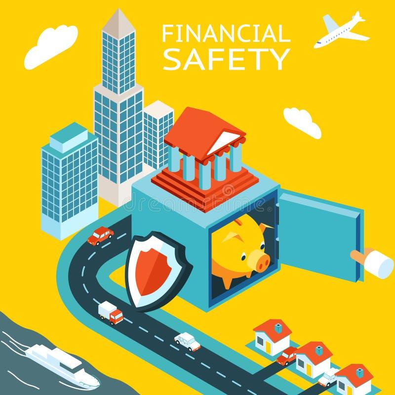 Finansiell säkerhets- och pengardanande stock illustrationer