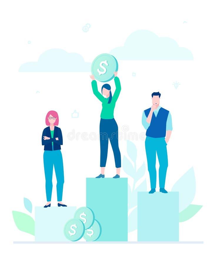 Finansiell seger - färgrik illustration för plan designstil royaltyfri illustrationer