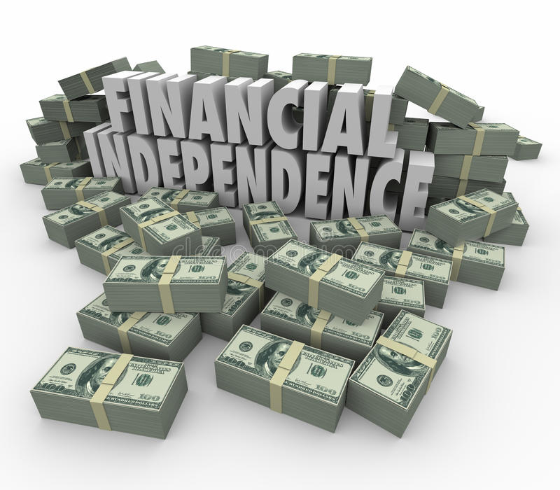 Finansiell självständighet 3d uttrycker förtjänster för pengarbuntinkomst stock illustrationer