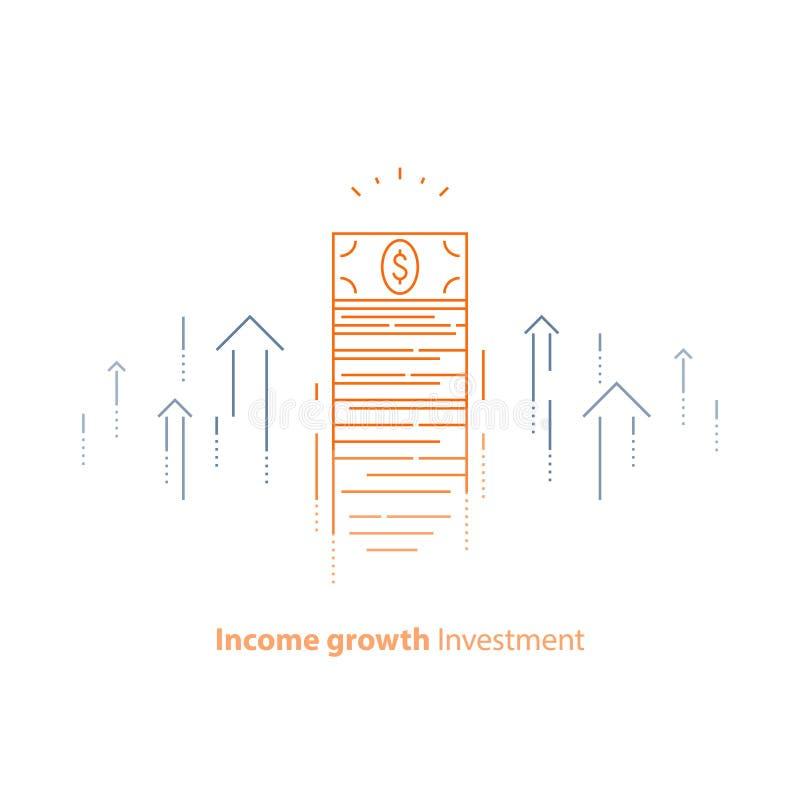 Finansiell strategi, inkomstförhöjning, retur på investeringen, lyfta för fond, långsiktig ökning, intäkttillväxt, aktiemarknad vektor illustrationer