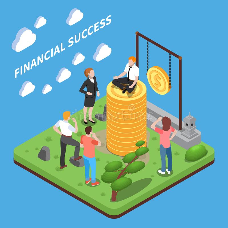 Finansiell Succes isometrisk sammansättning stock illustrationer