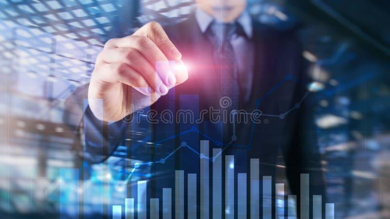 Finansiell tillväxtgraf Försäljningar ökar begrepp för marknadsföringsstrategi folk arkivfoton