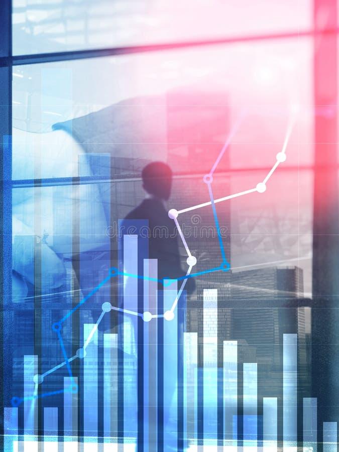 Finansiell tillväxtgraf Försäljningsförhöjning, begrepp för marknadsföringsstrategi Vertikalt format för abstrakt räkningsdesign royaltyfri bild