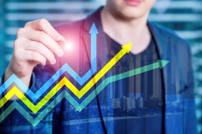 Finansiell tillväxtpilgraf Investering- och handelbegrepp arkivfoton