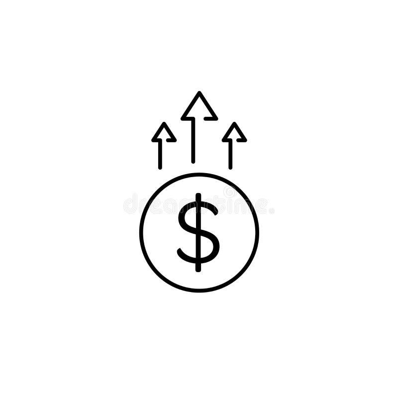 Finansiell tillväxtsymbol, ökande pengargräns, inkomst Begrepp för att packa ihop symbolen i plan översiktsdesign Isolerat på vit royaltyfri illustrationer