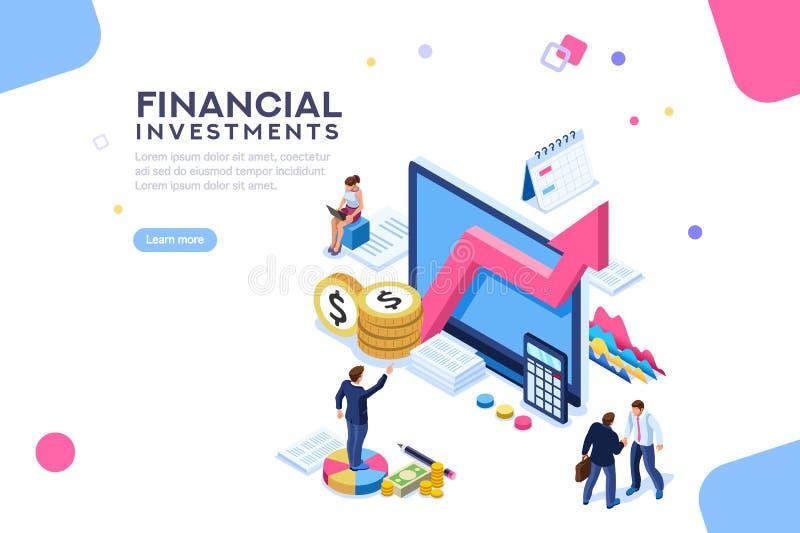 Finansiell värdeledninglägenhet isometriska Infographic stock illustrationer