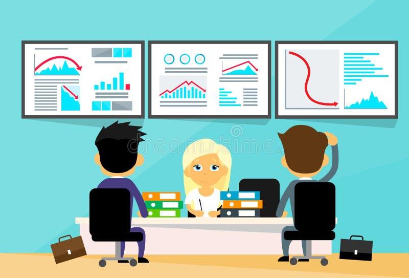 Finansiella affärsmän för skrivbord för kontor för affärsfolk royaltyfri illustrationer