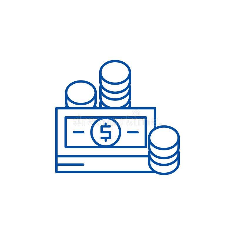 Finansiella bidrag fodrar symbolsbegrepp Plant vektorsymbol för finansiella bidrag, tecken, översiktsillustration royaltyfri illustrationer