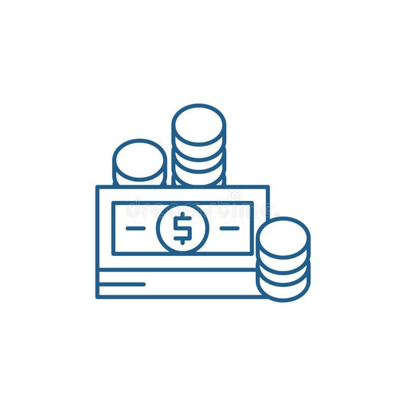 Finansiella bidrag fodrar symbolsbegrepp Plant vektorsymbol för finansiella bidrag, tecken, översiktsillustration stock illustrationer