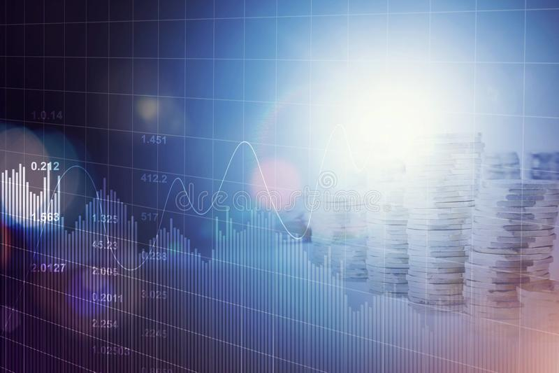 Finansiella futuristiska blåa diagram och grafer och mynt staplar bakgrund royaltyfri bild
