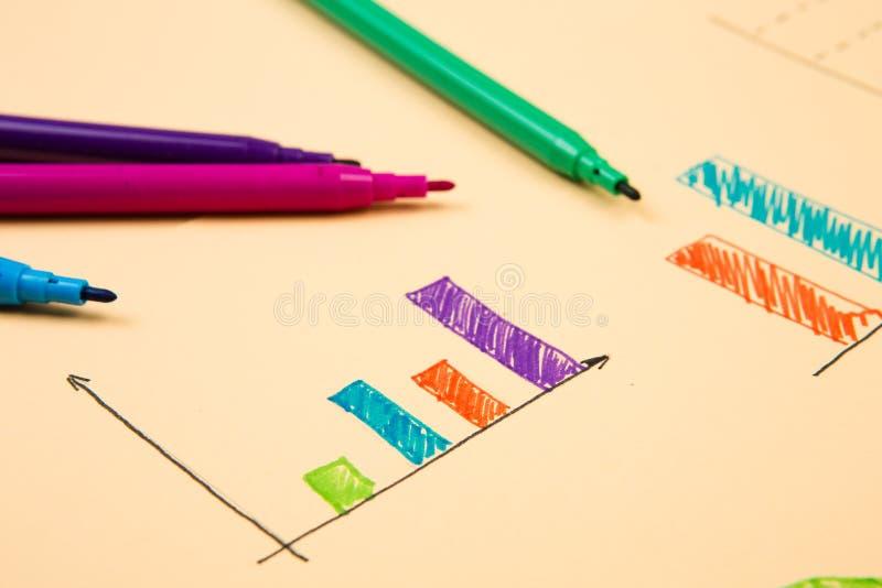 Finansiella grafer som dras med kulöra pennor arkivbilder