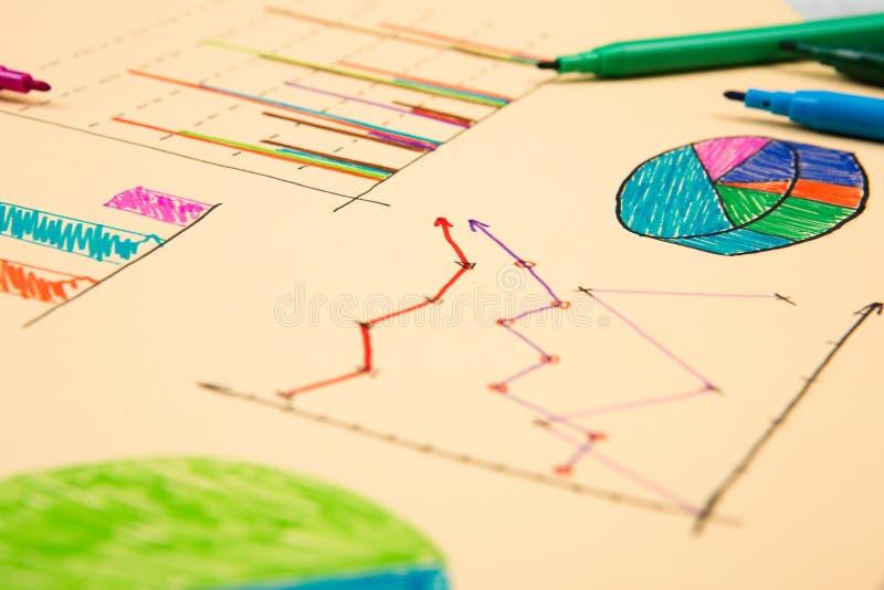 Finansiella grafer som dras med kulöra pennor royaltyfria bilder
