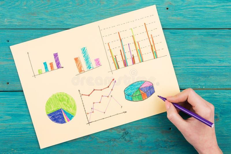 Finansiella grafer som dras med kulöra pennor arkivfoto