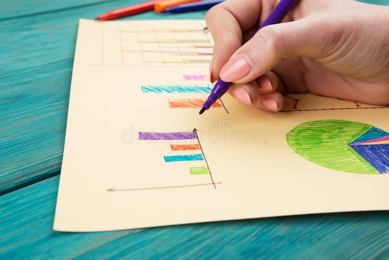 Finansiella grafer som dras med kulöra pennor arkivbild