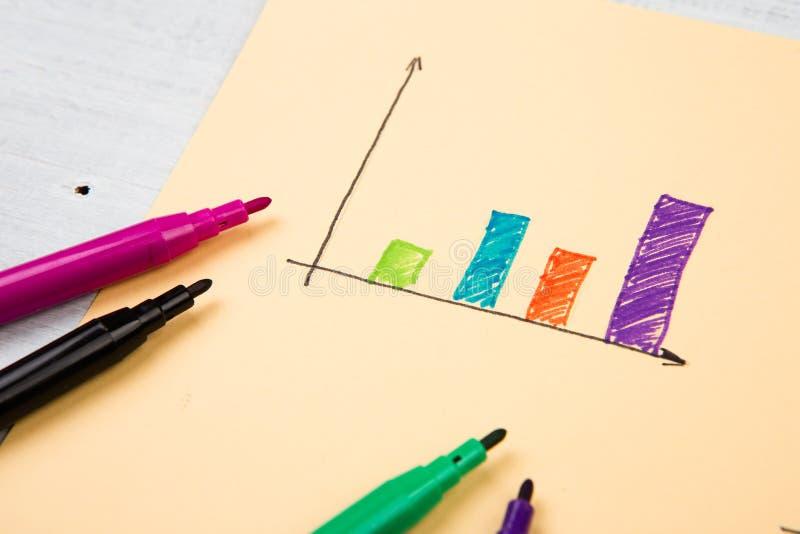 Finansiella grafer som dras med kulöra pennor arkivfoton
