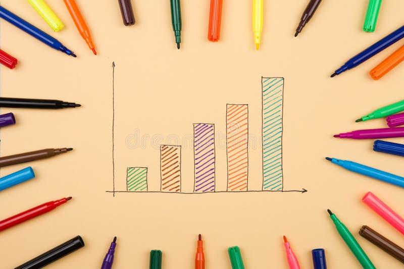 Finansiella grafer som dras med kulöra pennor fotografering för bildbyråer
