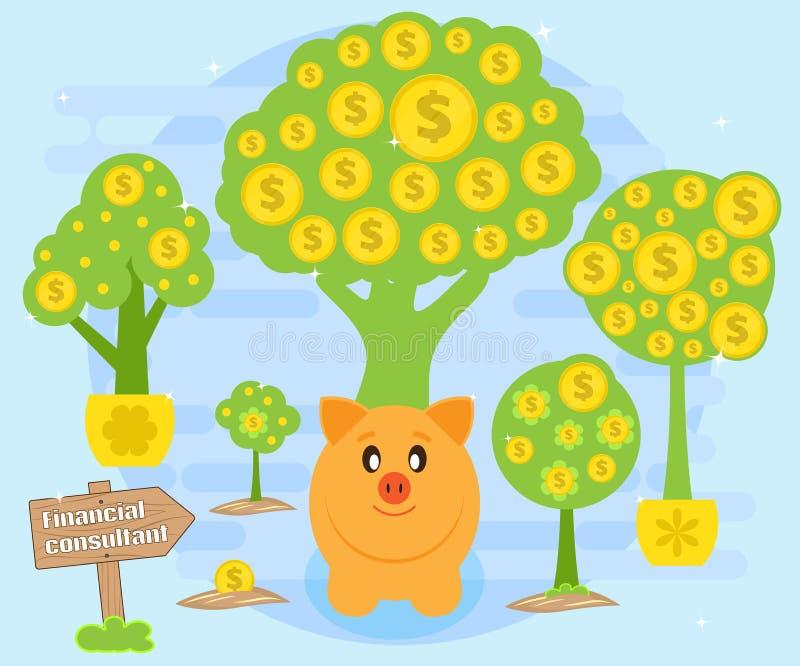 Finansiella konsultationer på skapelse av kassaflöden för ackumulation av rikedom Piggybank på en bakgrund av pengarträd vektor illustrationer